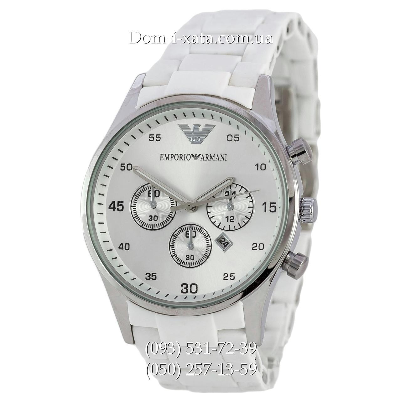 Мужские часы Emporio Armani white-silver, элитные часы Эмпорио Армани белый-серебро, реплика, отличное качество!