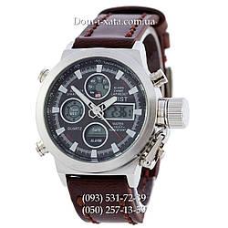 Армейские часы AMST 3003 Silver-Black, кварцевые, противоударные, армейские часы АМСТ черный-серебро, реплика