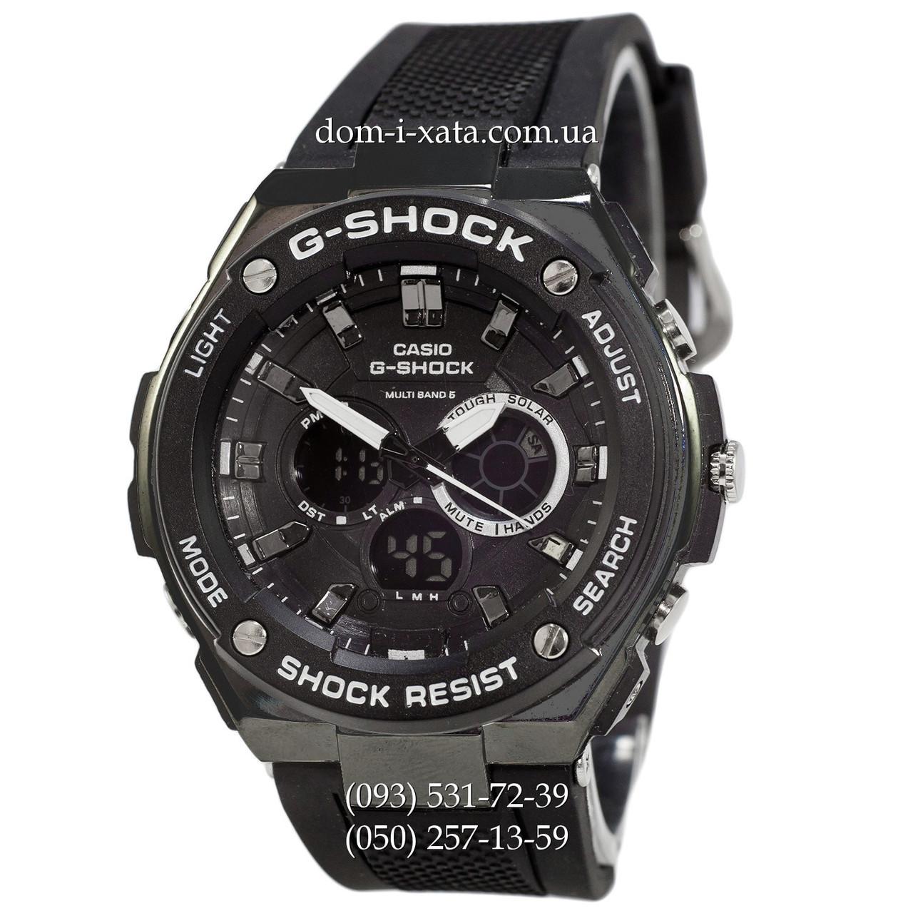 Электронные часы Casio G-Shock GST-210 All Black-White, спортивные часы Джи Шок черный-белый, реплика, отличное качество!