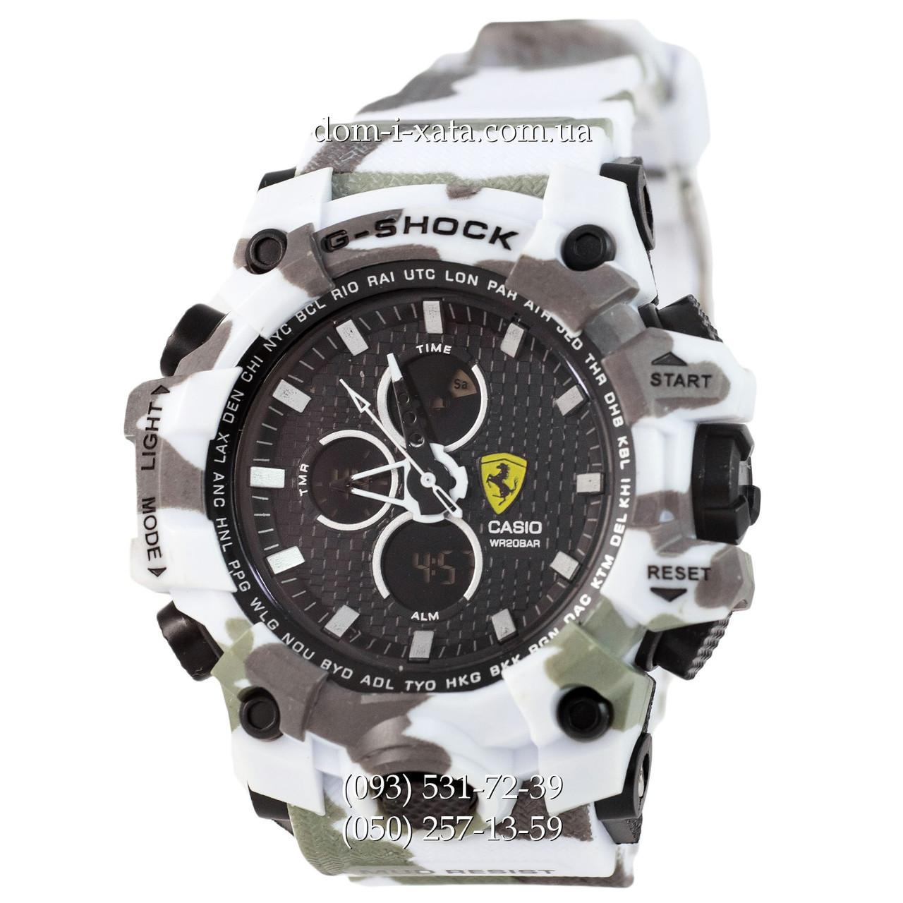 Электронные часы Casio G-Shock Ferrari Grade Militari-White, спортивные часы Джи Шок феррари военные, реплика, отличное качество!