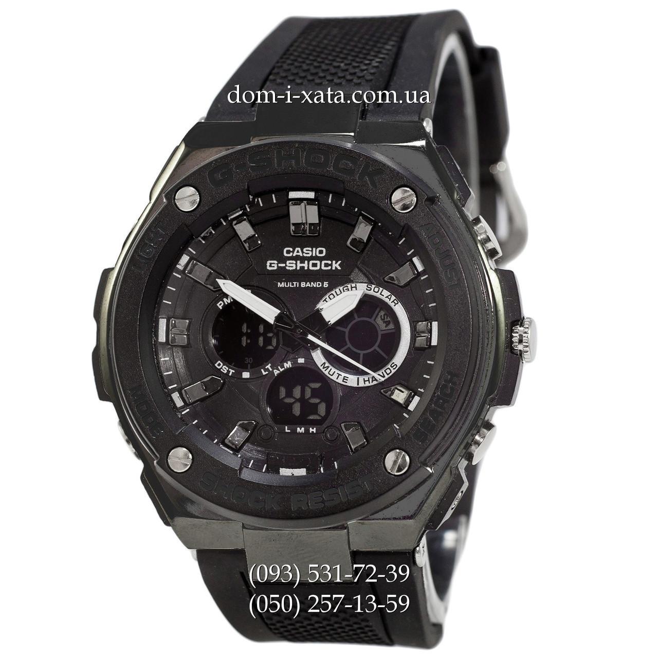 Электронные часы Casio G-Shock GST-210 All Black, спортивные часы Джи Шок черный, реплика, отличное качество!