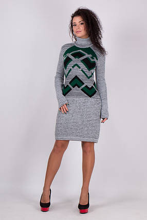Вязаное платье женское миди Злата серый меланж-зеленый-черный, фото 2