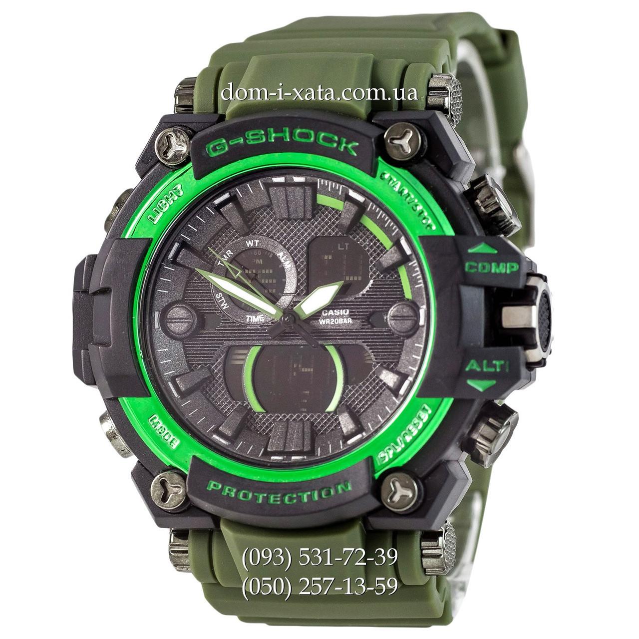 Электронные часы Casio G-Shock GWA-1045 Black-Green Militari Wristband, спортивные часы Джи Шок зеленый-черный, реплика, отличное качество!