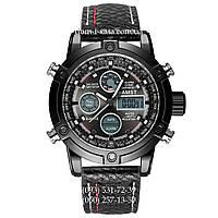 Армейские часы AMST 3022 All Black Fluted Wristband, кварцевые, противоударные, армейские часы АМСТ черные