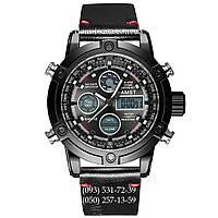 Армейские часы AMST 3022 All Black Smooth Wristband, кварцевые, противоударные, армейские часы АМСТ