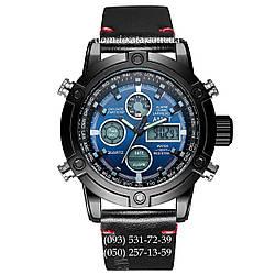 Армейские часы AMST 3022 Black-Blue Smooth Wristband, кварцевые, противоударные, армейские часы АМСТ, реплика, отличное качество!