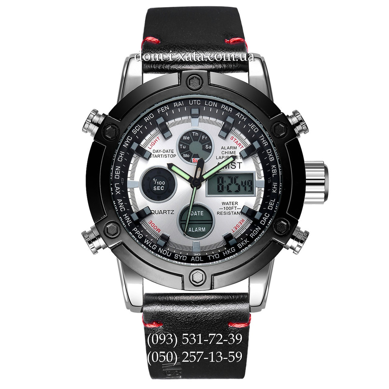 Армейские часы AMST 3022 Silver-Black-Silver Smooth Wristband, кварцевые, противоударные, армейские часы АМСТ, реплика, отличное качество!