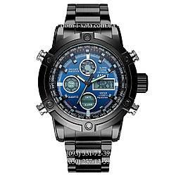 Армейские часы AMST 3022 Metall Black-Blue, кварцевые, противоударные, армейские часы АМСТ, реплика, отличное качество!