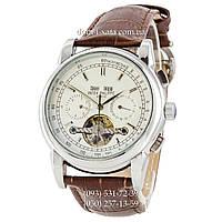 Мужские часы Patek Philippe Tourbillon Grand Complications AA Brown-Silver-White, механические, элит, реплика, отличное качество!
