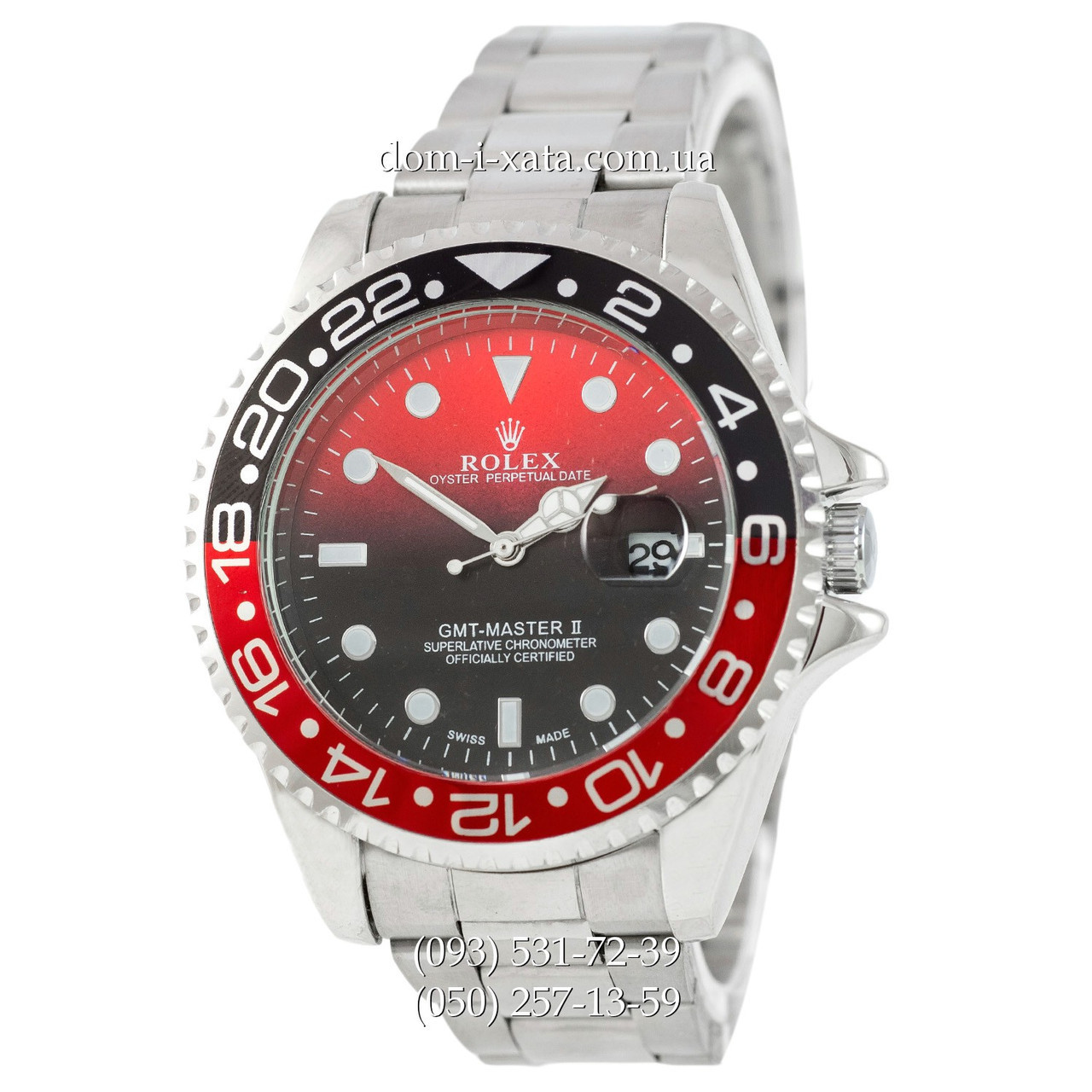390e8fb26fd8 Мужские часы Rolex GMT-Master II Quarts Silver-Black-Red, кварцевые часы
