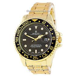 Мужские часы Rolex GMT-Master II Quarts Gold-Black-Black, кварцевые часы Ролекс Мастер, реплика, отличное качество!