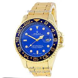 Мужские часы Rolex GMT-Master II Quarts Gold-Blue-Blue, кварцевые часы Ролекс Мастер, реплика, отличное качество!