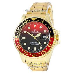 Мужские часы Rolex GMT-Master II Quarts Gold-Black-Red, кварцевые часы Ролекс Мастер, реплика, отличное качество!