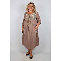 Платье Этно батал капучино, фото 1