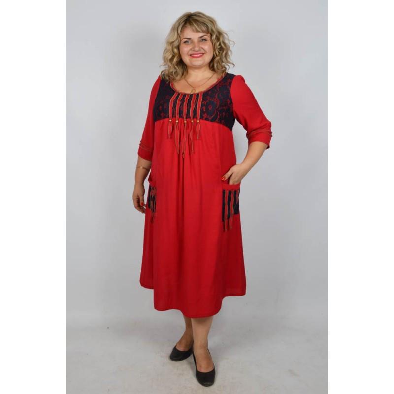 Платье Этно батал красный, фото 1