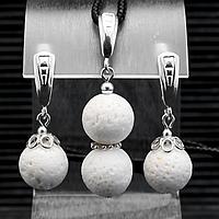 Коралл белый губчатый, Ø12 мм., серебро, комплект кулон и серьги, 052КМК