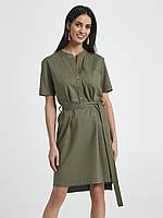 Летнее льняное платье цвета хаки. Модель 250001 Enny, коллекция весна-лето