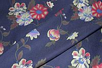 Ткань джинс синий №4,2 цветы крупные