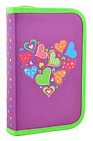 Пенал Smart твердый одинарный с двумя клапанами Hearts purple 531683