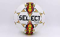 Мяч футбольный №5 PU ламин. ST BRILLANT SUPER  белый-черный-желтый (№5, 5 сл., сшит вручную)
