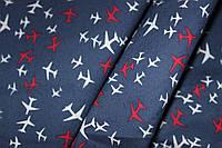 Ткань джинс стрейч синий самолетики