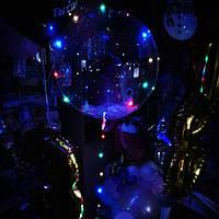 Баблс шар со светодиодной лентой, перьями и Гелием