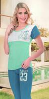 Пижамы бриджи с футболкой