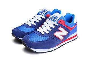 Кроссовки New Balance 574 Blue Red Синие мужские реплика