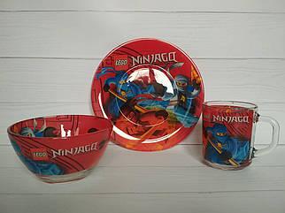 Набор детской посуды из стекла Ниндзяго, посуда для детского сада