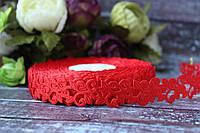 """Кружевная лента """"Вензель"""" красного цвета 20 ярд/ уп. ширина 2 см"""