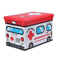 Пуф Короб , ящик для игрушек складной Скорая Помощь