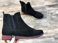 Ботинки челси из натуральной черной замши № 409-2