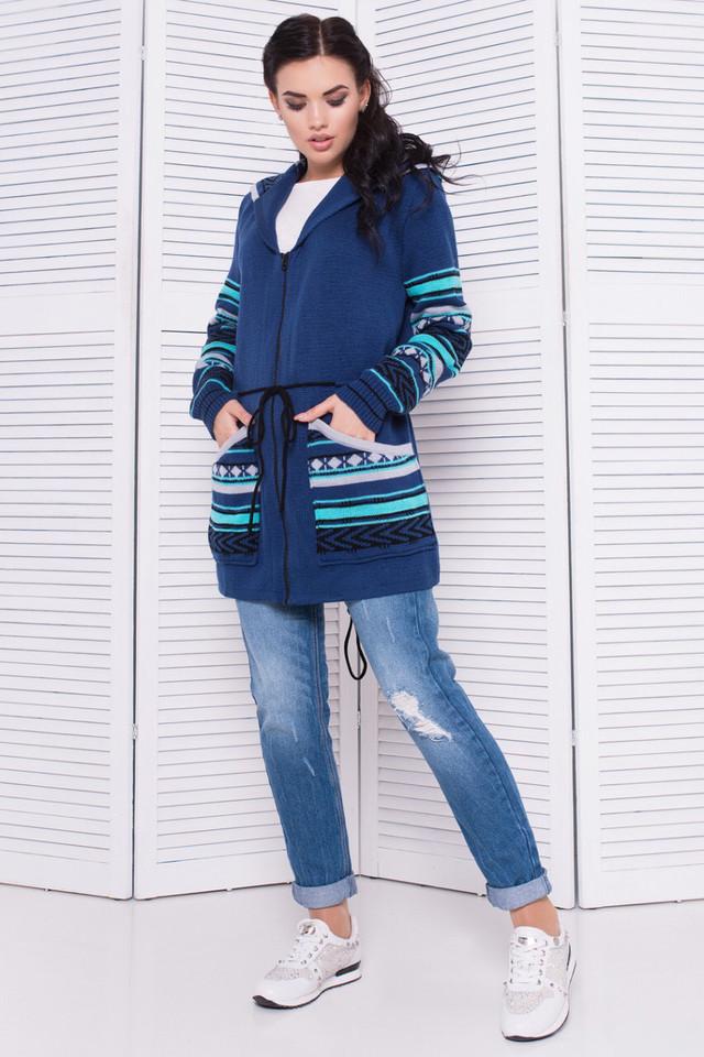 Вязаная кофта парка женская джинс