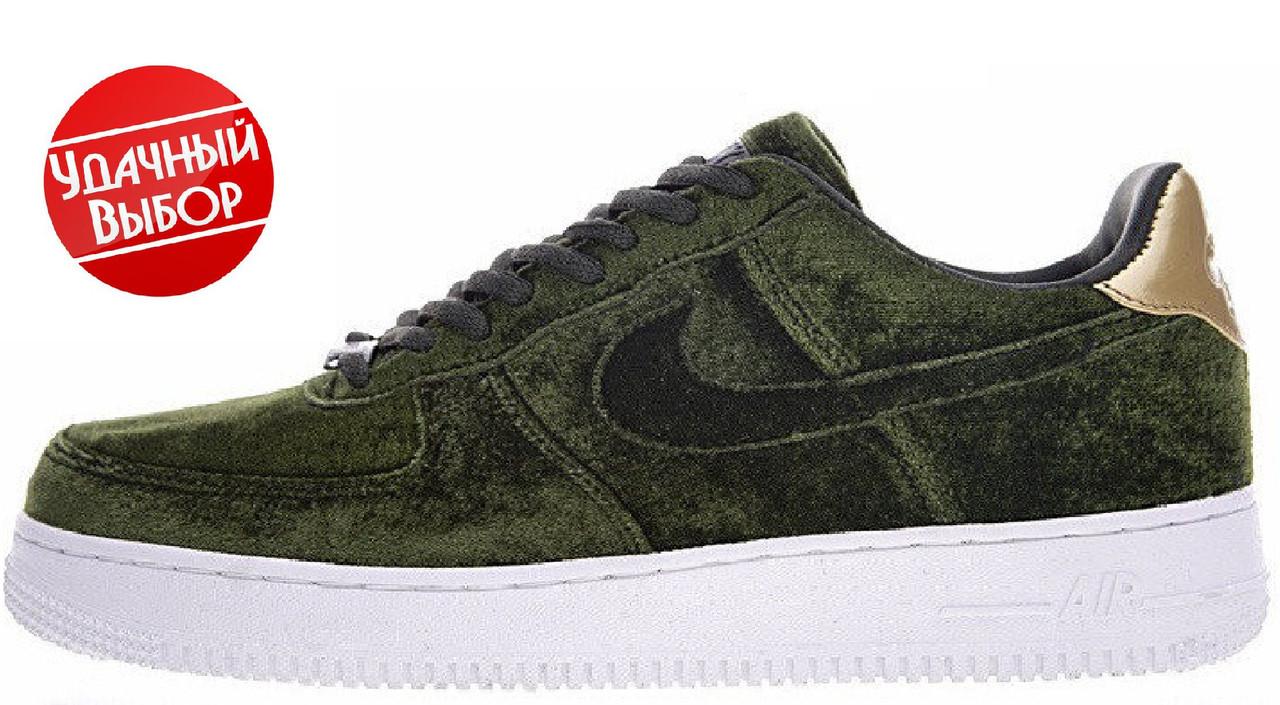 0710778562ea Женские кроссовки Nike Air Force 1 Low Velvet Green (найк аир форс вельвет  низкие,