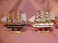 Корабль деревянный трехмачтовый сувенир статуэтка 13 сантиметров высота