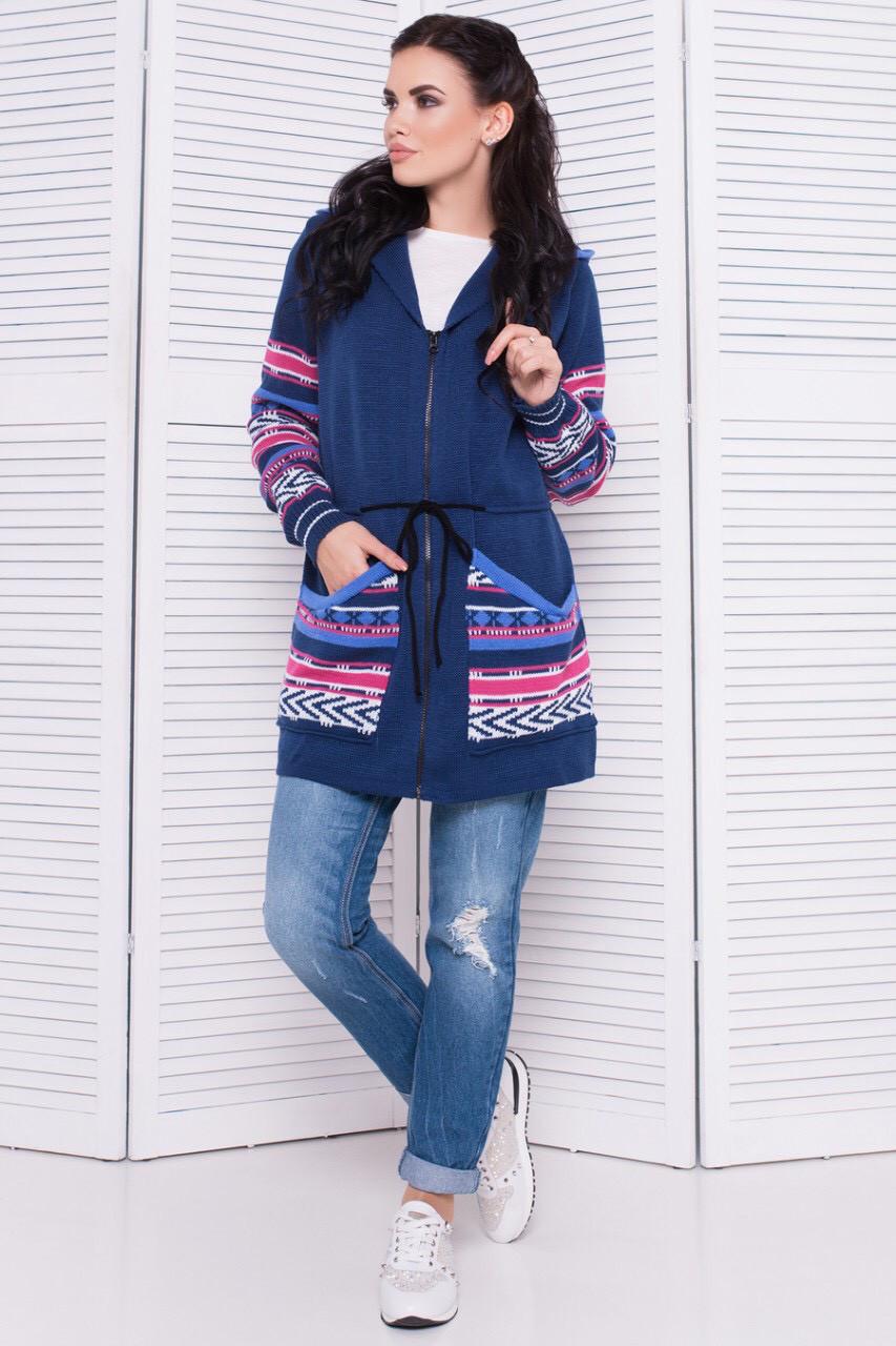 Женская вязаная модная парка кардиган джинс
