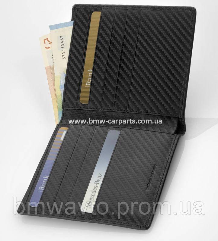 Кожаный футляр для кредитных карт Mercedes-Benz AMG, Carbon Leather, фото 2