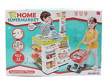 Игровой набор Магазин супермаркет 668-03 Касса с прилавком. Звук. Свет. Продукты, фото 3