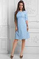 Прелестное платье трапеция в стиле ампир с узором и коротким рукавом