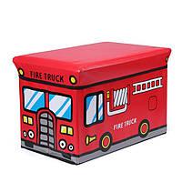 Пуф Короб , ящик для игрушек складной Пожарная машина