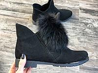 Ботинки  №430-2 черная замша + УШКИ, фото 1