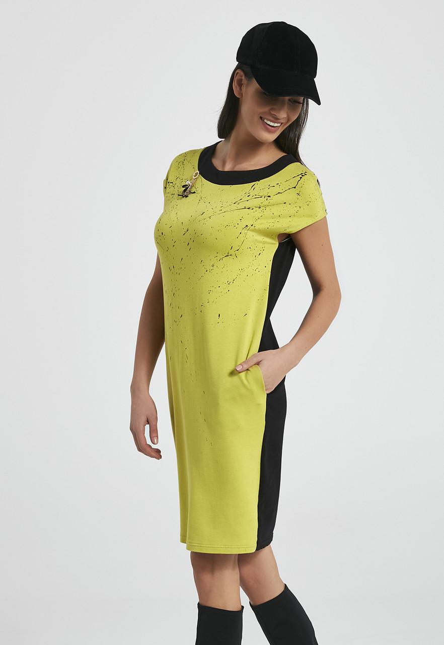7db2a923783 Женское летнее платье с коротким рукавом зеленого цвета. Модель 250034  Enny