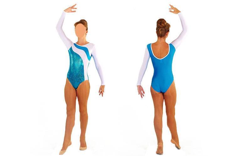 Купальник гимнастический для выступлений детский белый-синий UR. Распродажа! АКЦИЯ! 32 размер!