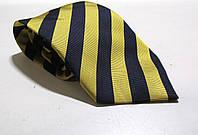 Галстук желто-синий полосатый, шелк, 9.5 см, Как Новый!