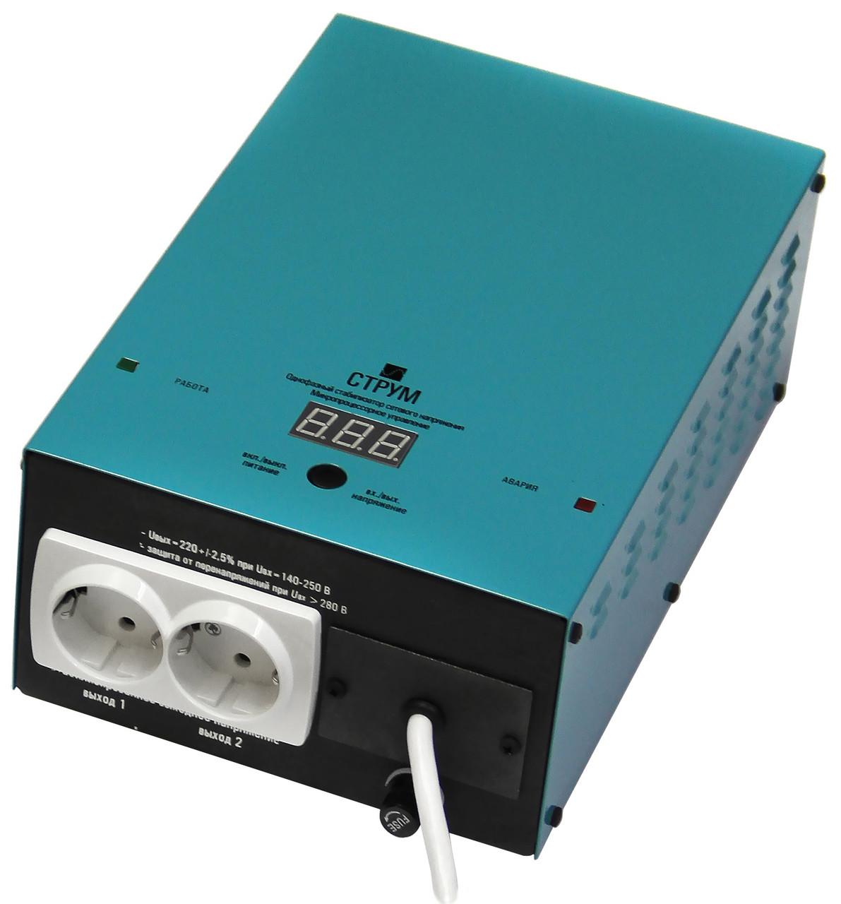 Стабилизатор напряжения Струм СтР-2000 (2 кВт) для Котла, холодильника, двигателей