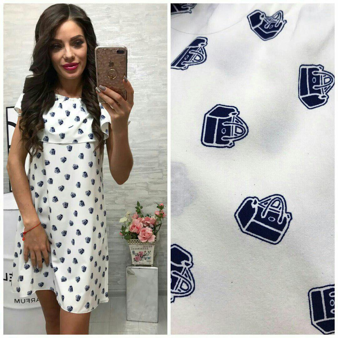 Сукня, модель 786, колір - білий, принт - сумочка