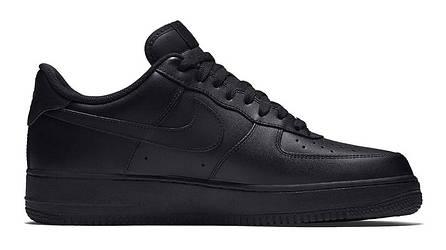 Кроссовки найк эйр форс 1 черные кожаные повседневные (реплика) Nike Air  Force 1 Low Black 70c39513d3b