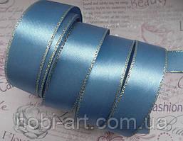 Стрічка атласна 25мм 23м з люрексом № 03 блакитний