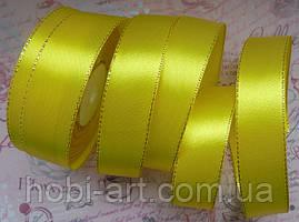 Стрічка атласна 25мм з золотим люрексом № 08 жовта