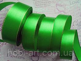Стрічка атласна 25мм з золотим люрексом № 06 зелена